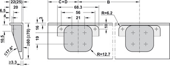 Preparation details for plate for recess mounting the hinge