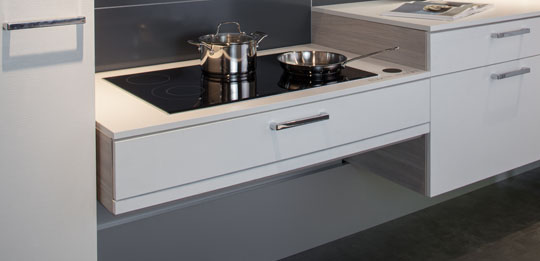 Easy on the back: the hob has a height adjusting facility