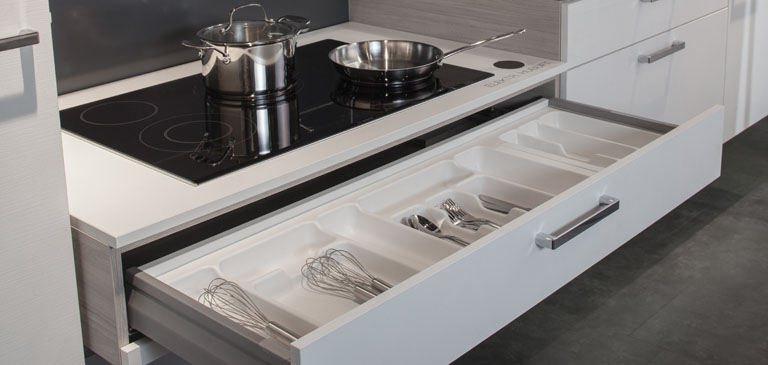 Large drawers provide plenty of room for cutlery and utensils