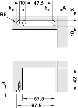 Drilling pattern for cabinet top panel or base panel